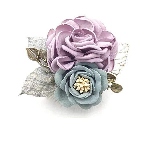 胸飾り布花コサージュ卒業式卒園式入学式用綺麗な手作り花ブローチ女性母贈り物人気なレディースコサージュプレゼント結婚記念日発表会のアクセサリー (若紫)
