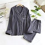 NYKK Pijamas Pijamas de algodón Set for otoño e Invierno Manga Larga Pantalones Largos Colores múltiples Colores Pijamas Homewear Traje Pijamas Mujer (Color : H, Size : M Size)