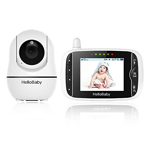 Video Baby Monitor with Camera and Audio, Remote Pan-Tilt-Zoom, Hellobaby Monitor Camera3.2'' LCD Screen, Infrared Night Vision, Temperature Display, Lullaby, Two Way Audio
