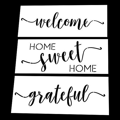AZDIY Reusable Stencil Set  Home Sweet Home, Welcome, Grateful Stencils - Word Stencils for Painting on Wood Laser Cut Painting Stencil - for Home Dcor & DIY Projects