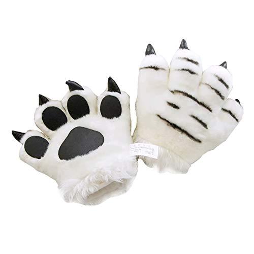 SODIAL 1 Pieza Guantes Completos de Garra de Dibujos Animados de Tigre Blanco de Felpa para Nios Animal Novedad Cosplay Fiesta Disfraz Juguete Regalo de Cumpleaos (D)