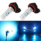 Alla Lighting 3600lm Xtreme Super Bright H16 H8 H11 LED Fog Light Bulbs 8000K Ice Blue 12V ETI 56-SMD DRL Replacement for Cars, Trucks