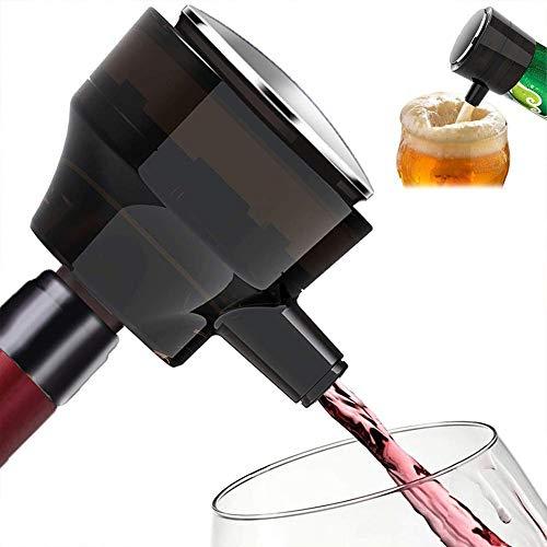 AUZZO HOME Espuma de Cerveza Wine Decanter, espumador de Cerveza portátil ultrasónico 2 en 1 se Puede Usar Durante 3.5-4 Horas para Fiestas Familiares Barras de Carnaval para Botellas enlatadas
