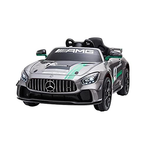 Un coche para niños con una batería teledirigida bajo licencia GT4 AMG Plata