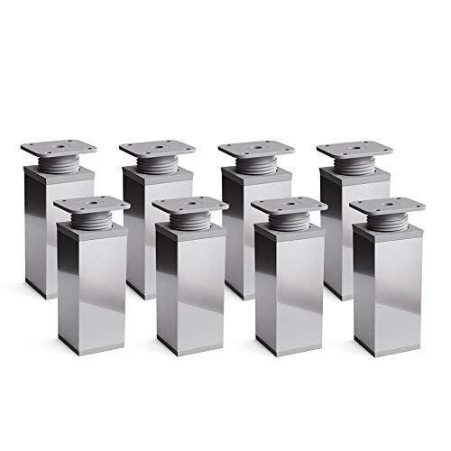 sossai® Design-Möbelfüße MFV1 | höhenverstellbar | 8er Set | Vierkant-Profil: 40 x 40 mm | Farbe: Chrom | Höhe: 60mm (+20mm) | Material: Aluminium | Hochwertige Holzschrauben inklusive