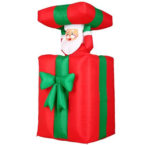 Père Noël cadeau gonflable 114-152 cm rouge/vert décoration LED 4x piquets de terre IP44 lumineux intérieur et extérieur brille la nuit autogonflant