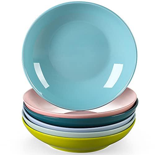 LOVECASA serie Platos Hondos de 6 piezas Platos de Sopa, Ensaladeras 21cm 550ML Cocina Vajilla de Porcelana Multicolor