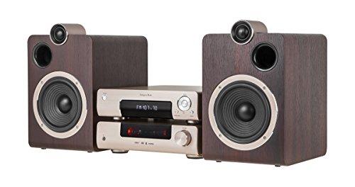 Krüger&Matz KM1908 Mikrosystem mit DVD, HDMI, USB, BT, Radio DAB+, FM Gold/gebürstetes Aluminium/braun