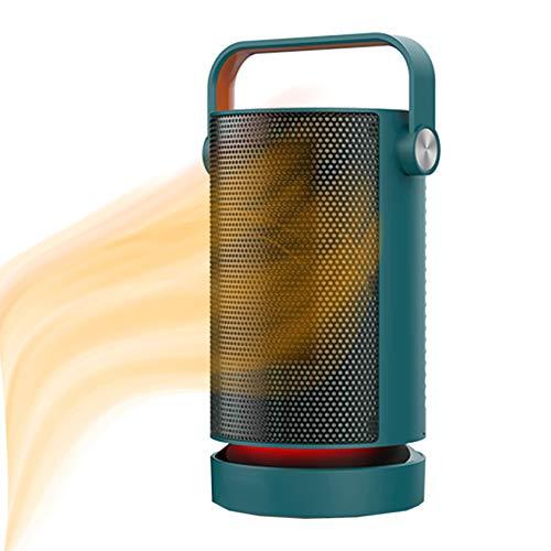 Baño Space Heater,Pequeño Portátil Calefactor Eléctrico Seguro Y Silencioso Termoventilador 2 Niveles De Tacto para Escritorio De La Sala De Oficinas En Interiores-Verde Un