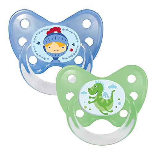 Dentistar® Schnuller 2er Set - Silikon Nuckel in Gr. 3 - ab 14 Monate - zahnfreundlich & kiefergerecht - Beruhigungssauger für Babys und Kleinkinder - Made in Germany - BPA frei - Drache