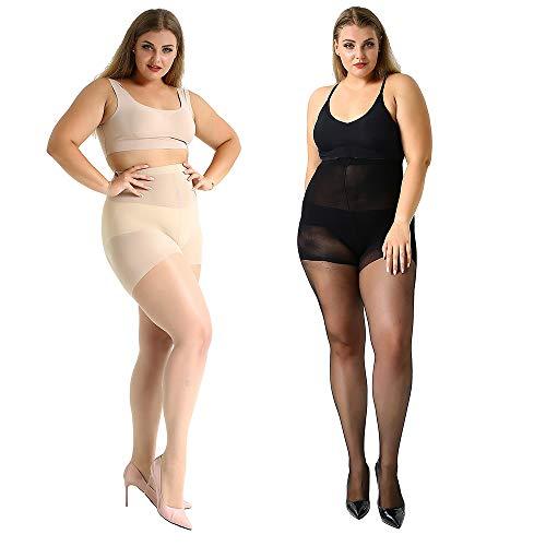 MANZI 2 Pairs Women's Plus Size Soft Silky Sheer pantyhose 20 Denier(XXXL)