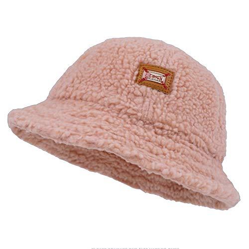 HT LT Retro Cordero Peluche Sombrero Sombrero otoño Invierno Salvaje Grueso Cuenco Cuenca Sombrero Sombrero de Pescador,Rosado