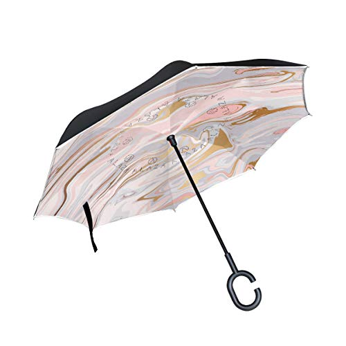 Vinlin Liquid Marble Texture Reverse Folding Umbrella Durable Double Layer Windproof UV Protection Car Inverted Umbrella Outdoor