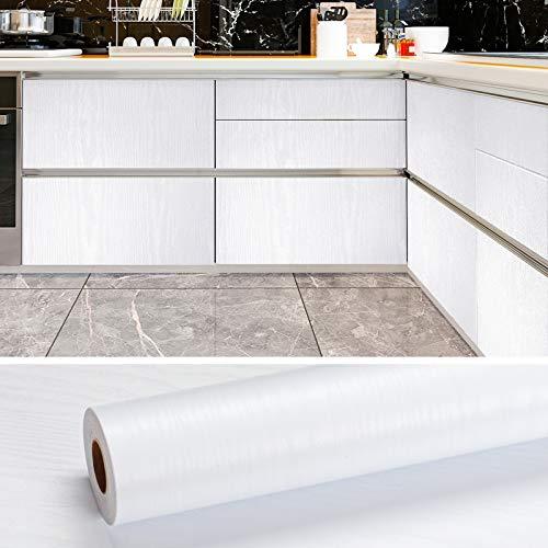 VEELIKE Papel Pintado Madera Vinilo Autoadhesivo Papel Pared Adhesivo Papel de Pared Vinilo Blanco para Muebles Puertas de Armario Encimera Cocina 0.4m x 18m