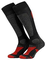 Piarini 2 pairs of unisex ski socks, ski socks for men, women and children for winter sports, snowboarding, breathable knee socks, color black-red, size 39-42