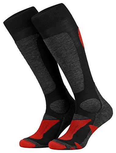 Piarini 2 Paar Unisex Skisocken Skistrumpf Herren, Damen und Kinder für Wintersport, Snowboard atmungsaktive Knie-Strümpfe Farbe Schwarz-Rot Gr.39-42
