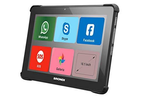 Brondi Amico Tablet 10.1 pollici, Wi-Fi e Rete 3G, Dual SIM standard, Sistema operativo Android, con Icone Grandi e Funzionalità Cellulare, Nero