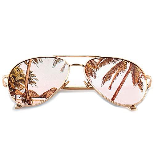 SUNGAIT Gran Tamaño Gafas de Sol Ligeras para Mujer con Lente Polarizada Espejada(Ligero-Oro/polarizadas Rosa)-SGT603