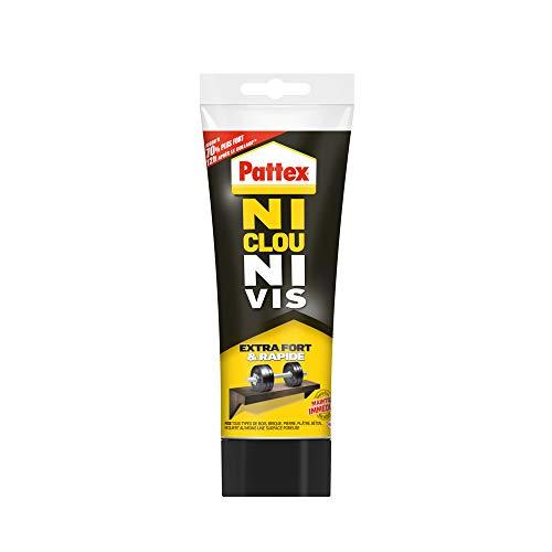 Pattex Ni Clou Ni Vis Extra Fort & Rapide, colle de fixation surpuissante, colle rapide qui permet une prise instantanée, colle blanche, tube 260 g
