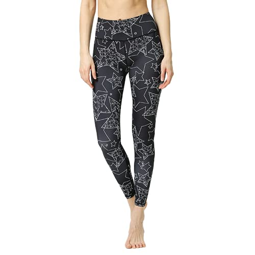 QTJY Pantalones de Yoga de Hoja Negra, Leggings de Fitness de Camuflaje elásticos Femeninos, Caderas de Cintura Alta, Pantalones de Yoga para Correr al Aire Libre B M