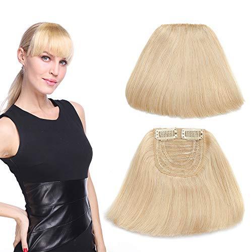 Frange Cheveux Naturel Frange A Clip Epaisse Lisse Cheveux Humains Naturels Invisible - 613 Blond Très Clair
