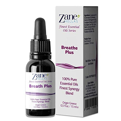ZANE HELLAS Finest Synergy Blends. Breathe Plus. 100% Pure Essential Oils for Healthy Breathing. Perfect for Aromatherapy, Supports Respiratory Function, Congestion, Sinus Relief 0.5 fl.oz - 15 ml.