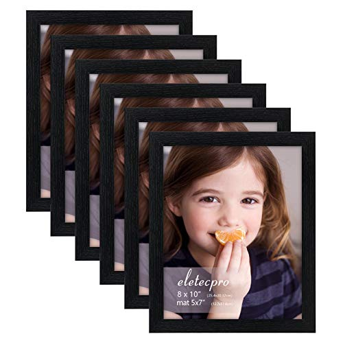 eletecpro 8x10 Picture Frames Set of 6,High Definition Glass- Display Pictures5x7 With Mat and 8x10 Without Mat for Tabletop or Wall Decor, Black