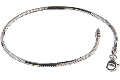 Schlangenkette Armband, achtkant, 2mm Breite - massiv 925 Silber, Länge wählbar 16-25cm