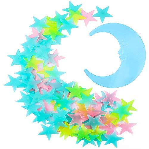 ANSMIO Luminous Stickers 100pcs Glowing Stars and Moon, Colorful Stars,...