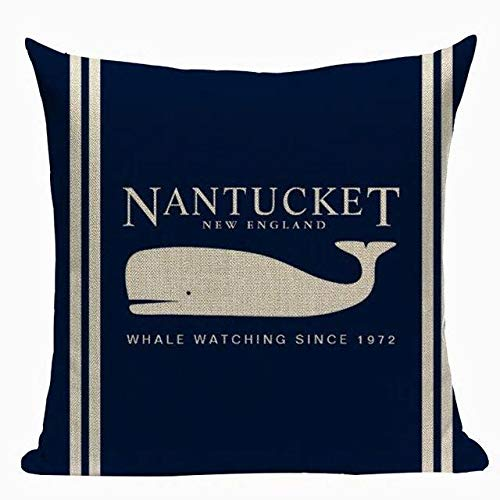 J.T.Hatched Whale/Nantucket - Funda de cojín, Color Azul Marino y náutico