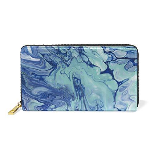 Mármol Abstracto Arte Azul Billetera Mujer Cremallera Billetera de Cuero Cartera Teléfono Tarjeta de Credito Delgada Tarjetero para Chica Hombre