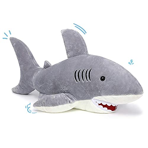 MorisMos Giant Shark Stuffed Animal,Gray Shark Plush Pillow,Plush Toy,Gift for Kids Girlfriend,51 Inches