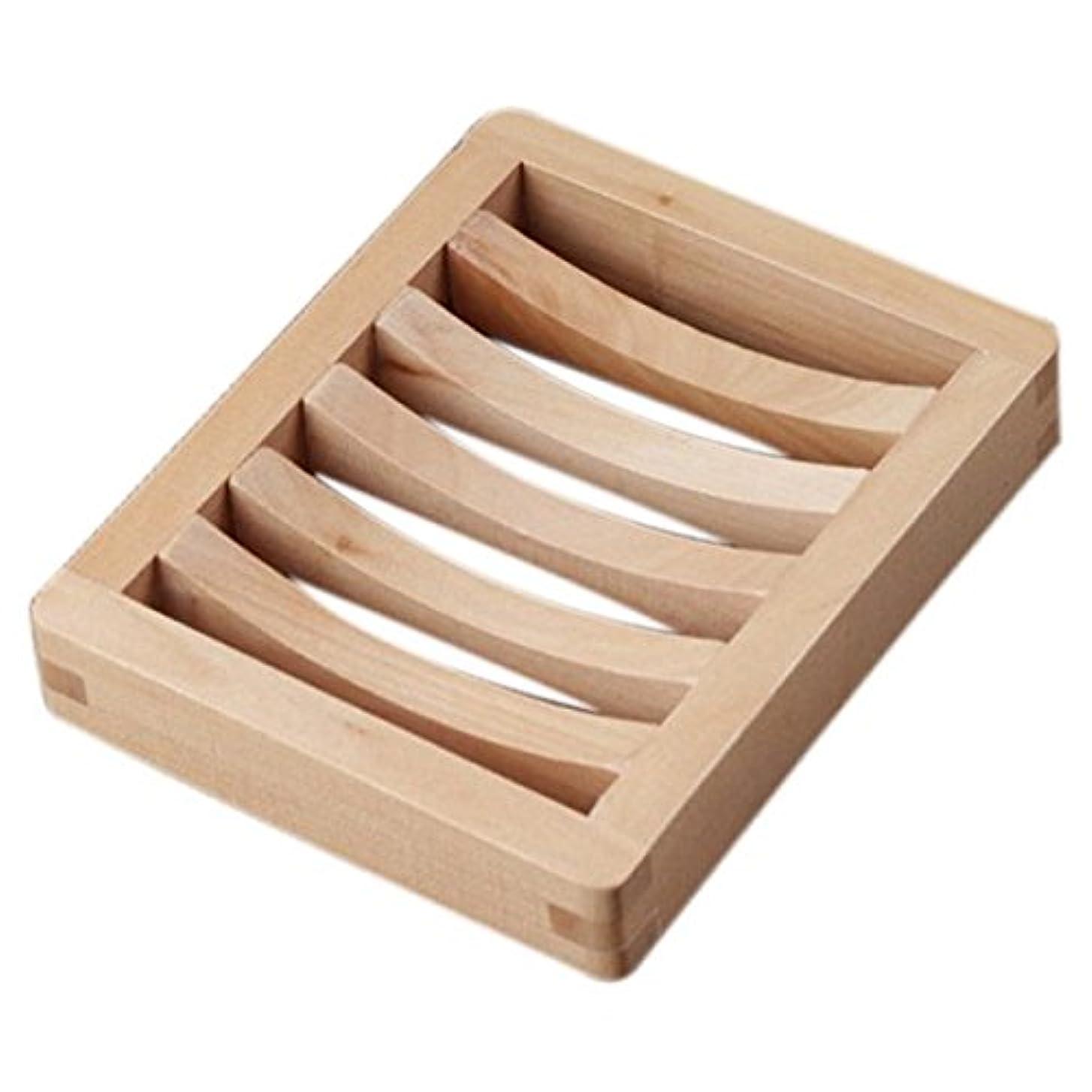 舗装するゴム歯痛Gaoominy 木の色の石鹸ボックス、木製石鹸ホルダー