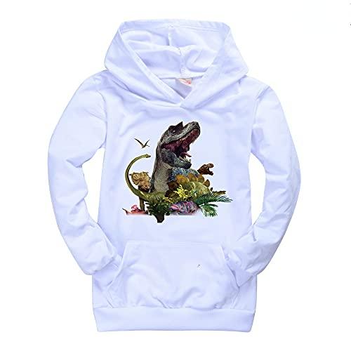Jurassic Park Sudaderas con bolsillo para niños y niñas, unisex, con dibujos animados y manga larga para niños, blanco, 7-8 Años