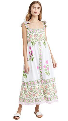 Juliet Dunn Women's Tie Shoulder Cover Up Dress, White/Fuchsia, 2