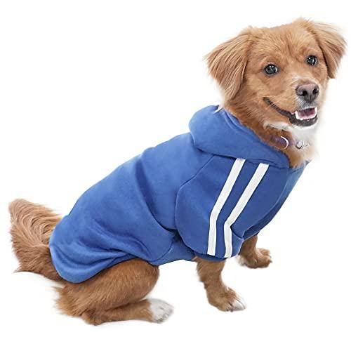 Eastlion Adidog Hund Pullover Welpen-T-Shirt Warm Pullover Mantel Pet Kleidung Bekleidung, Saphirblau, Gr. M