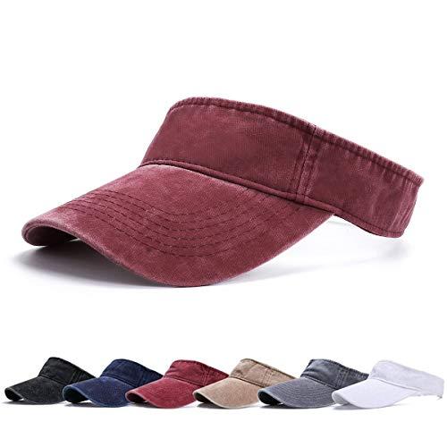 BLURBE Unisex Visera- Visor Gorras, 1/2 Gorra Deportiva Protección UV Viseras Sombreros para el Sol de Deportes al Aire Libre Golf Tenis Correr para Correr (VinoC)