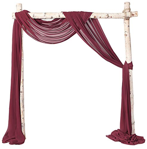 SHERWAY 2 Panels Chiffon Fabric Drapery Wedding Arch Drapes, Party Backdrop Curtain Panels, Ceremony Reception Swag Decoration (27 x 216 Inch, Burgundy & Burgundy)
