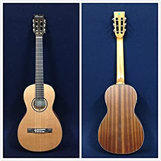 Caraya Parlor Guitar Parlor-610 Natural Cedar with EQ + Gig Bag + Extra Strings