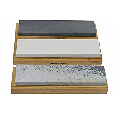 Arkansas Sharpening Stone Set - Wood Mounted 8