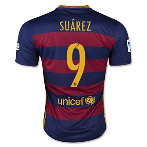 Suarez # 9 Barcelone Maillot Domicile De Football 2015/2016 -taille américaine (S)