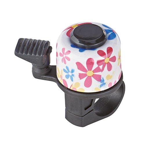 Prophete Mini-Glocke mit Alu-Deckel Motiv: Weiß/Blumen Fahrrad, Mehrfarbig, M