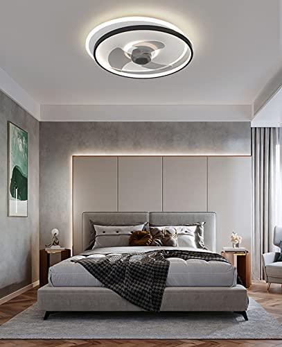 LED Ventilador Silencioso Techo Blanco Ventilador Techo Con Luz Silencioso Pequeño Plafon Ventilador Techo Con Luz Infantil Dormitorio De Matrimonio 50CM*15CM,Negro