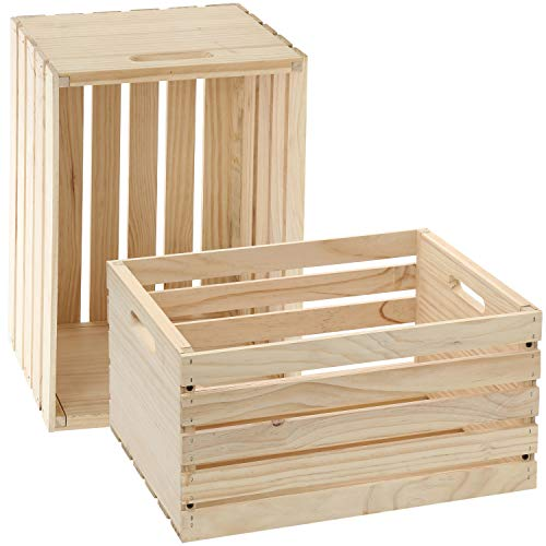 Decorative Large Unfinished Wooden Crate - Natural Pine Wood Box For Storage Basket, Rustic/Farmhouse Decor, Crafts, Shelves and DIY. Sturdy, Smooth, Easy to Paint or Stain - Set of 2