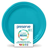 Preserve Go Lightweight BPA Free Large Dinner Plates Made from Recycled Plasti Kitchen Supplies, Aqua