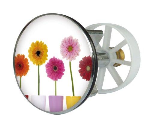 Waschbeckenstöpsel Design Bunte Blumen   Abfluss-Stopfen aus Metall   Excenterstopfen   38 – 40 mm