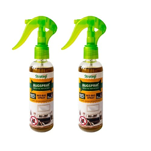 Herbal Strategi – BugSpray Bed Bug Repellent | Room Spray | Completely Herbal | Bed Bug Repellent Spray | Made with Lemongrass, Cedarwood & Neem| Eco-friendly & Biodegradable | Irritant-Free, Chemical-Free |Baby-Safe, Skin-Safe, Plant-Safe | 100mL | Pack Of 2