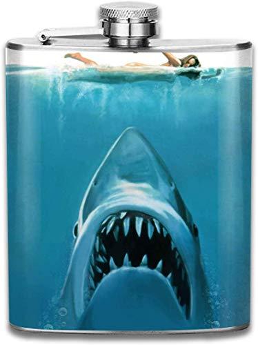 Gruseliger Hai-Flachmann, Taschenflasche, 200 ml, tragbar, Edelstahl, Flagon für Reisen Camping Bar