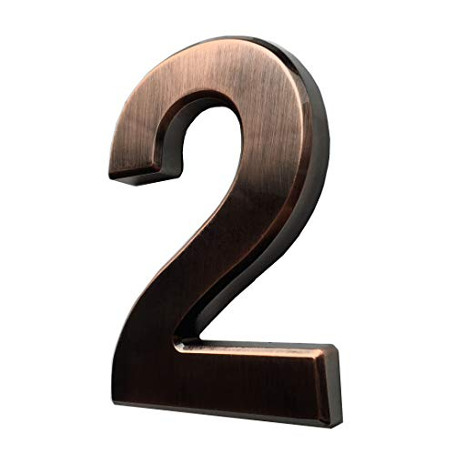 4 Inch Mailbox Numbers 2, Bronze House Numbers Stickers, Door Numbers for Apartment, Bronze/Silver, by Hopewan. (2, Bronze)