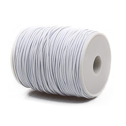 Yholin 110 Yards Elastic Beading Cord with Sewing Scissors,2mm 100 Meters DIY Crafts Project Bracelet String Earloop Band Stretch Strap Rope for Jewelry Making and Crafting(White)
